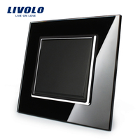 Livolo Manufacturer Black Crystal Glass Panel EU Standard Luxury Push Button Switch VL C7K1 12