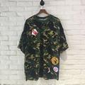 Hip Hop T-Shirt Top Tees Streetwear 3D Printed Camouflage Pattern Skate Vintage Masculinas Camisetas Hombre EU Size Loose