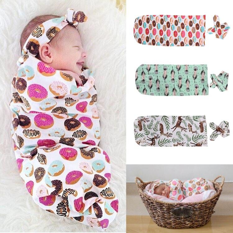 Neugeborenen Jungen Mädchen Baumwolle Decke Stirnband Swaddle Schlafen Schlafsack Kinderwagen Wrap Jungen Mädchen