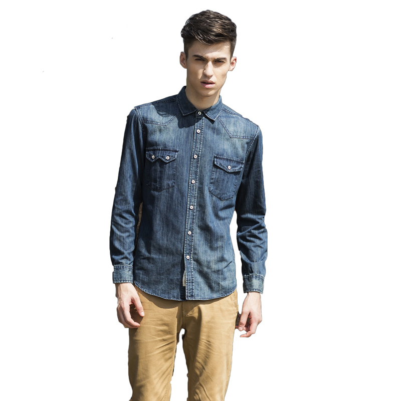 New Denim Shirt Casual Long Sleeve Solid Color Slim Fit Camisa Denim Hombre Cotton Slim Fit Breathable Brand Denim Shirts Men