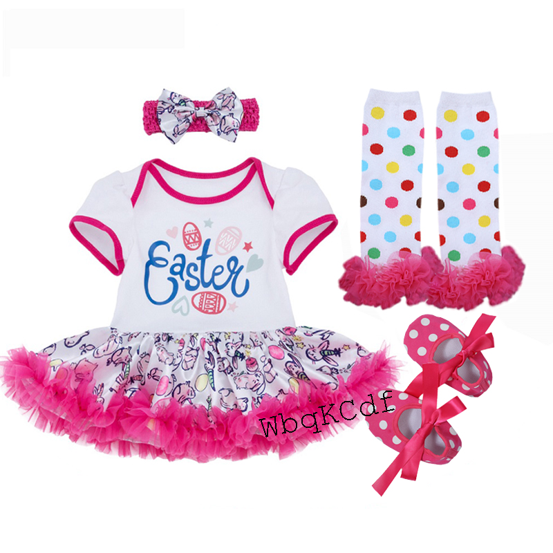 4PCS Set Baby Girls Clothing Newborn Baby Clothes Easter Infant Jumpsuit Clothes Bebe Suits Toddler Romper Tutu Dresses Party