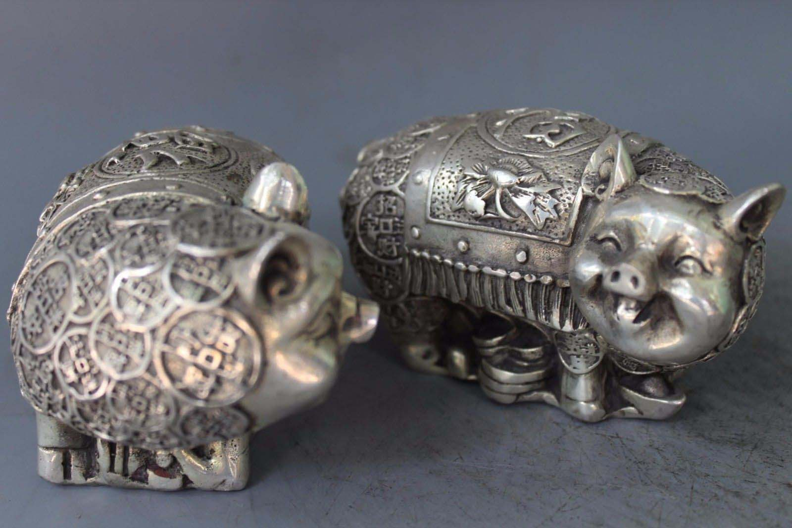 Chinese silver Wealth Money Yuanbao Pig Pigs Swine Animal Statue PairChinese silver Wealth Money Yuanbao Pig Pigs Swine Animal Statue Pair