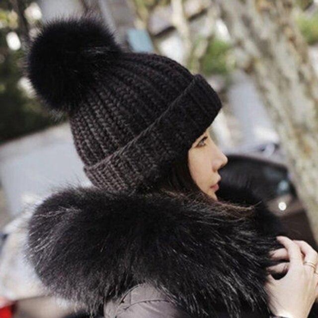 Women Fur Hat Faux Mink Fox Fur Ball Cap Poms Winter Hat for Women Girl 's Hats Knitted Beanies Brand New Thick Female Cap 279