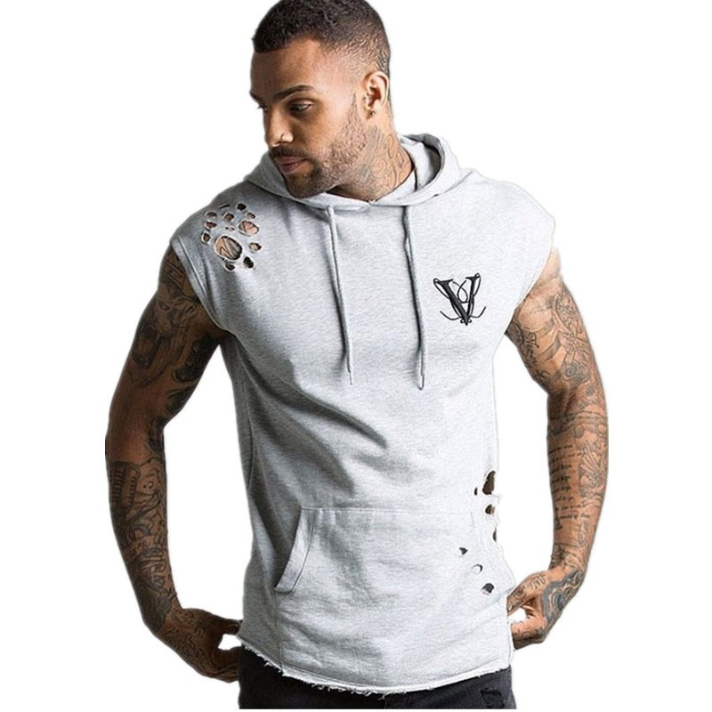 Summer New Hole Mens Sets Brand Hoodie Short Pants Two Pieces Suits Casual Tracksuit Casual Hoodies Gyms Fitness Shorts Men Set in Men 39 s Sets from Men 39 s Clothing