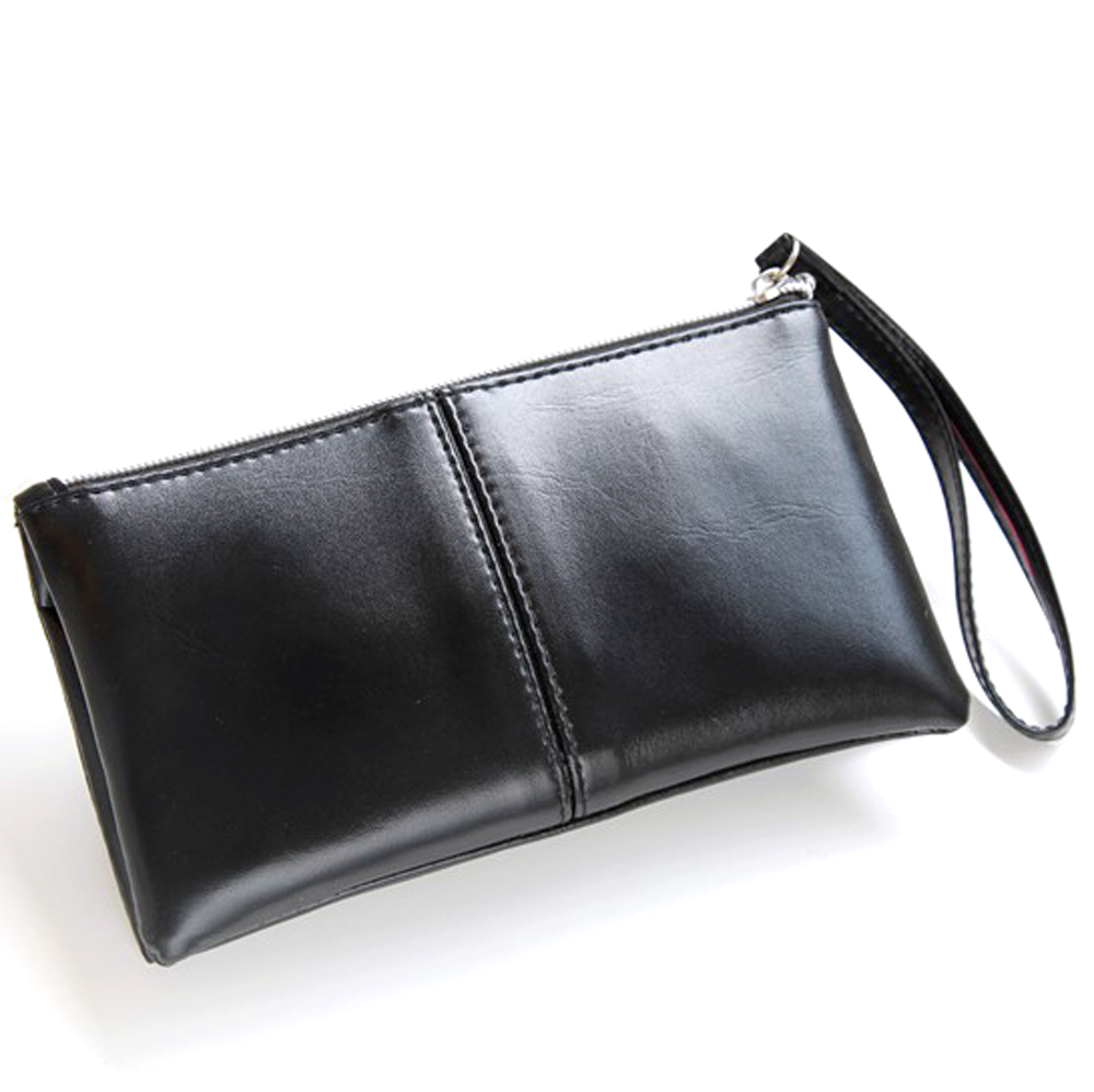 Fashion Black PU Leather Hand Bag Organizer Wallet Case Cell Phone Case Coin Purse Card Money Wallet Manufacturer Custom Designs new baellerry pu leather women organizer long wallet bowknot money purse ladies coin phone clutch hand bag card holder pouch box