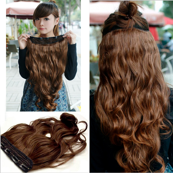 Clip In One Piece Synthetic Hair Extensions For Girl Newest Women