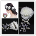 1 Pc Unique Design Bridal Flower and Pearls Handmade Wedding Headdress