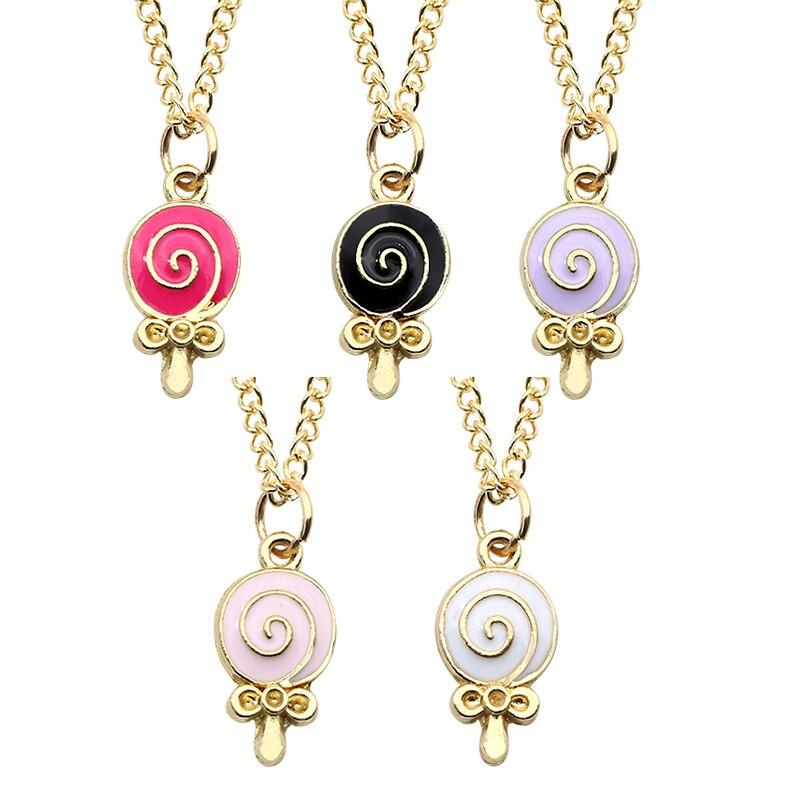 New Fashion Creative DIY Necklace Women Gold enamel Lollipop Sweet Candy Pendant Necklaces&Pendants Christmas Gift Childhood