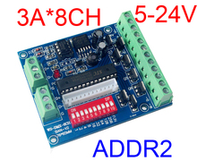 Free Shipping ADDR2-Easy 8CH RGBW dmx512 decoder,8channel W output,DC5V-24V for LED strip light,LED RGB dump node