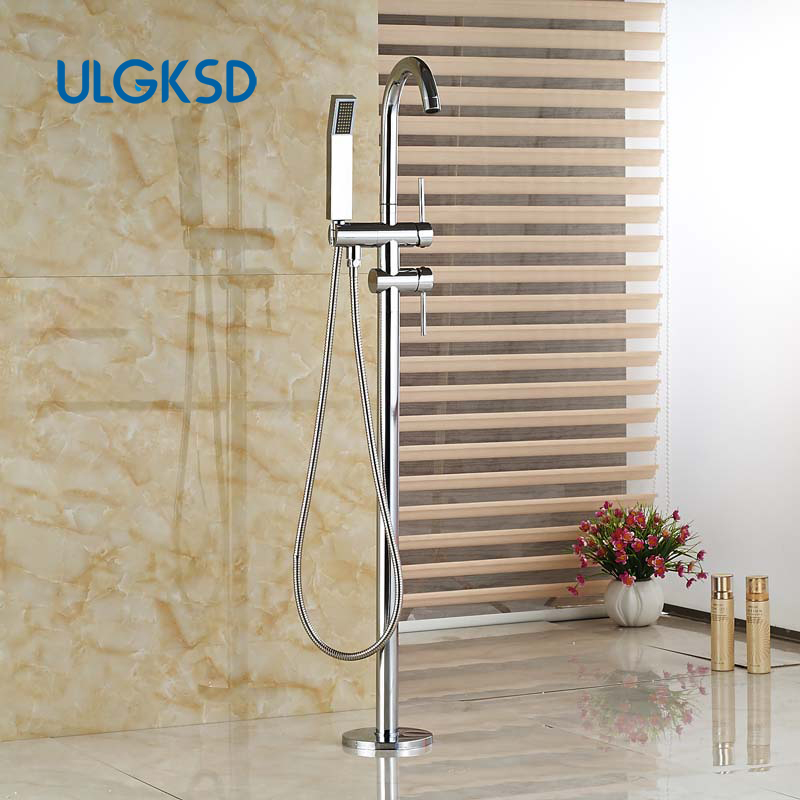 ULGKSD Chrome Bathtub Faucet Free Standing Tub Filler Taps Swivel Spout Shower Mixer Tap Floor Mounted chrome finished floor mounted swivel spout bathroom tub faucet single handle mixer tap