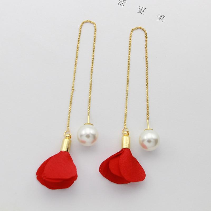 Korean style Boucles doreilles Multi-element Ear Line After Hanging Geometric Tassel Red Flower Pearl Stud Earrings Girl Gift