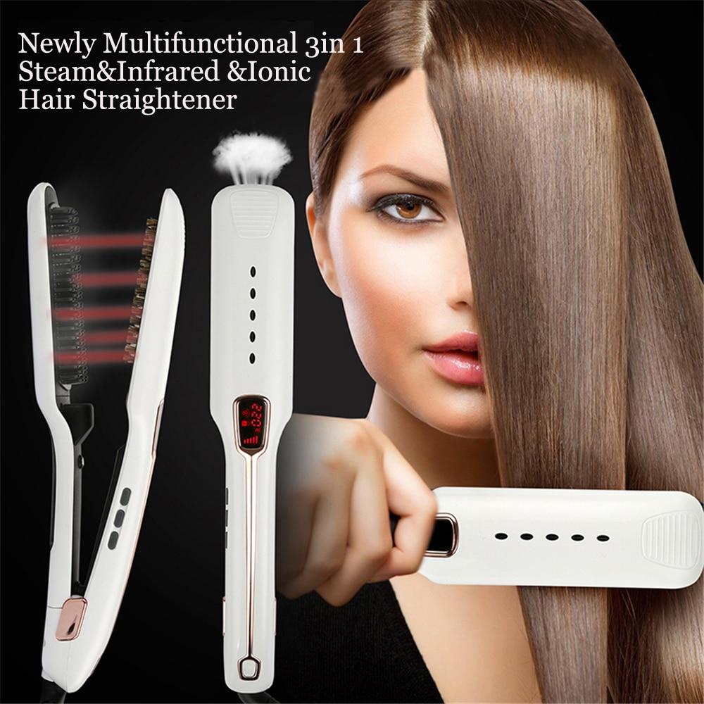 Professional Steam infrared ironic hair straightener styling tool straightening irons