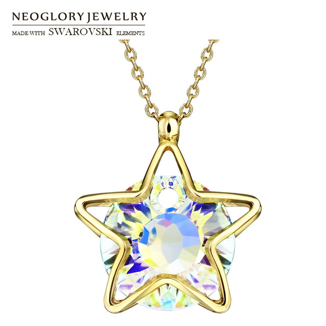 26e23f5d39a Neoglory Austria Crystal Pendant Charm Necklace Exquisite Star Design Light  Yellow Gold Color Lady Stylish For Party Sale