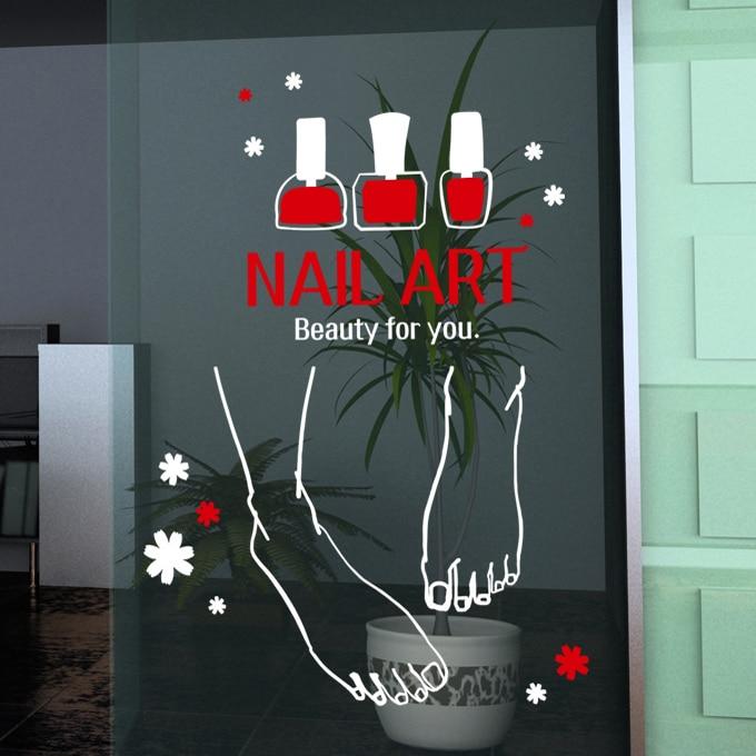Nail Art vinyle mur autocollant pied vernis à ongles Mural Art Mural décalcomanie ongles Bar signe affiche Nail Art verre fenêtre porte décoration