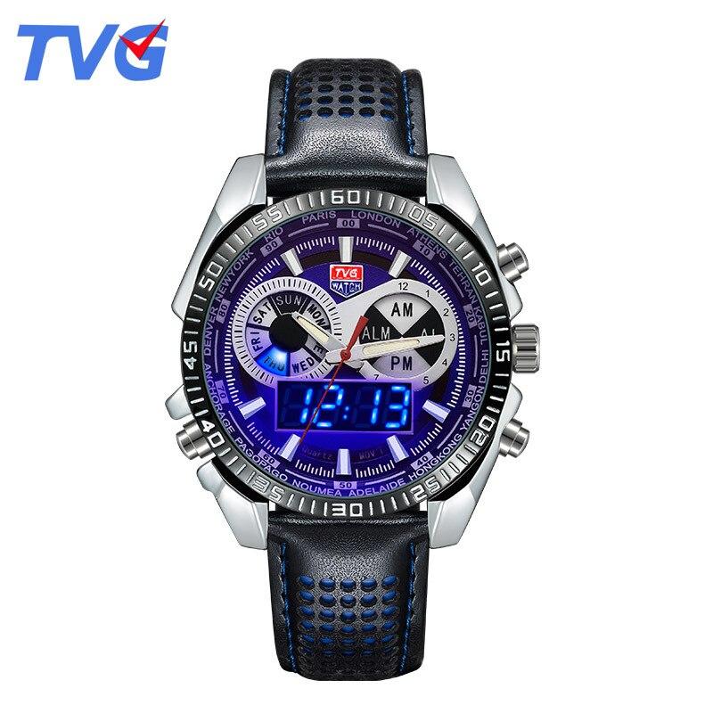 7761294bbe38 Top Marca TVG Hombres Reloj de Cuero Reloj de Cuarzo LED Digital 50 m Impermeable  Relojes Deportivos Militar Reloj Relogio masculino reloj