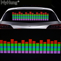 Red Yellow Blue Green Rosy Change Car Sticker Music Rhythm LED Flash Light Lamp Voice-activated Equalizer Stickers 90X25CM