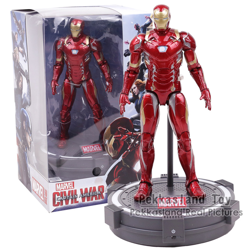 Marvel Avengers Black Panther Captain America Iron Man PVC Action Figure Collectible Model Toy with LED Light 20cm disney marvel 7 legends avengers civil war captain america iron man black widow black panther falcon pvc action figure toy