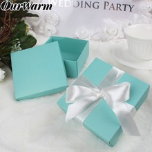 OurWarm 20pcs Wedding Favor Sweets Chocolates Tiffany Candy Boxes DIY Jewelry Gift Romantic Turquoise Square