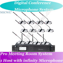 World Class Digital Wireless Gooseneck Microphone Conference System 1 Host 2 President 25 Delegates Desk Unit high end uhf 8x50 channel goose neck desk wireless conference microphones system for meeting room