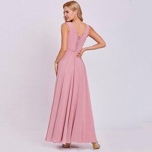 Image 2 - Dressv peach long evening dress cheap scoop sleeveless a line zipper up wedding party formal dress appliques evening dresses