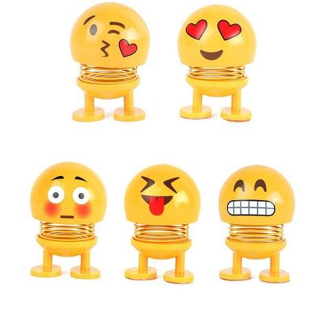Car Ornaments Smiley Shaking Head Dolls Cute Cartoon Funny Emoji Wobble Head Robot Dashboard Car decorations Car accessories Islamabad