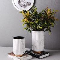 Marble Pattern Home Decor Flower Pots Ceramics Golden Rim Flower Vases for Homes Living Room Decoration Table Ornament Vase