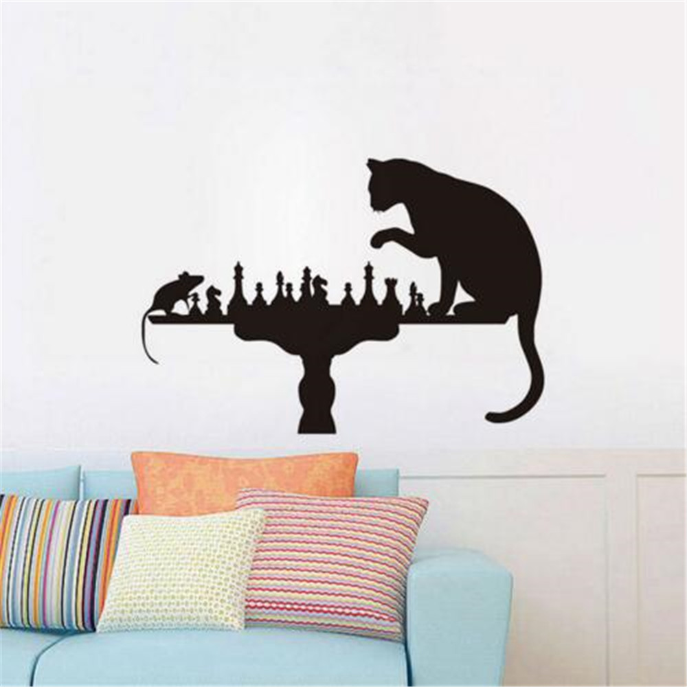 Katz Und Maus Schach Spielen Lustige Wandaufkleber Kreative Wohnkultur Wohnzimmer Wandtattoo Kinderzimmer Vinyl Wand Papier Wall Sticker Decoration Living Roomfunny Wall Sticker Aliexpress