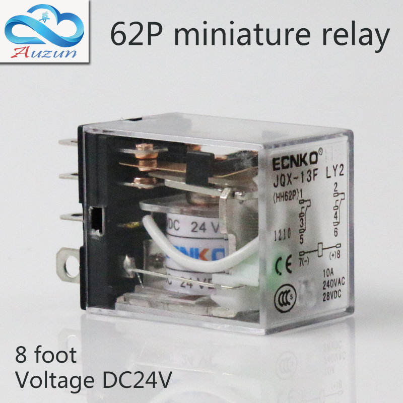 10 pieces hh62P small current relay intermediate relay DC24V 10 a2 2 closure ECNKO Voltage AC220V DC24V 1pc my4nj hh54p intermediate relay ac220v dc24v 12v small my4n j 14 feet magneti