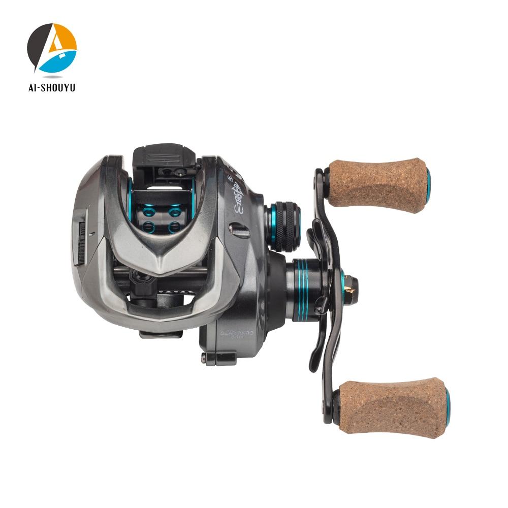 AI-SHOUYU Baitcasting bobine système de frein magnétique bobine 8 KG Max glisser 11 + 1 BB 8.1: 1 moulinet de pêche à grande vitesse eau salée et eau douce