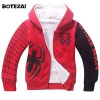 Baby Boys Spiderman Fleece Hoodies Kids Winter Warm Cartoon Outerwear Clothing Children Spider Man Thicken Sweatshirts