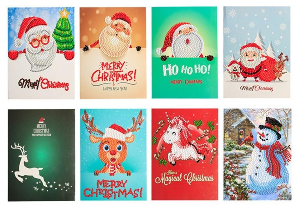 DIY Diamond Mosaic Christmas Greeting Cards full round 7d greeting ...