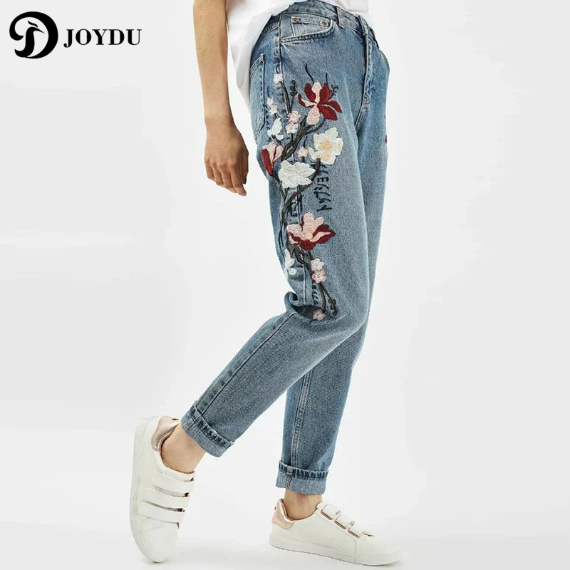 JOYDU Brand Women's Jeans With Embroidery Flora Vintage Denim Trouser Cool Pants 2017 Streetwear Boyfriend Jeans Female Ripped joydu hole ripped jeans for women washed blue streetwear plus size denim boyfriend edging cool vintage retro jeans female 2017