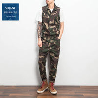 2017 autumn bodysuit male american camouflage male tooling casual male bodysuit bib pants The singer's clothing M XL