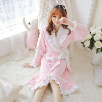 Fashion Autumn And Winter Women Flannel Robe Sleepwear Laciness Coral Fleece Bathrobe Lounge Flannel Bathrobe