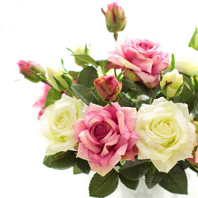 2 Kepala Hidup Pelembab Buatan Nyata Sentuh Sutra Bunga Mawar Pesta  Pernikahan Dekorasi Bunga Mengatur Aksesoris f0b207878e