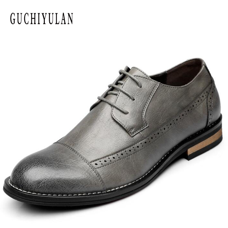 Brand Classic Genuine Leather Men Whole Cut Plain Oxford Lace Up Wedding Party Man Brown Dress Shoes Brogue Carved shoes classic style classic mens dress shoes deep coffee color genuine leather oxford shoes for men lace up pointy loafers high heels
