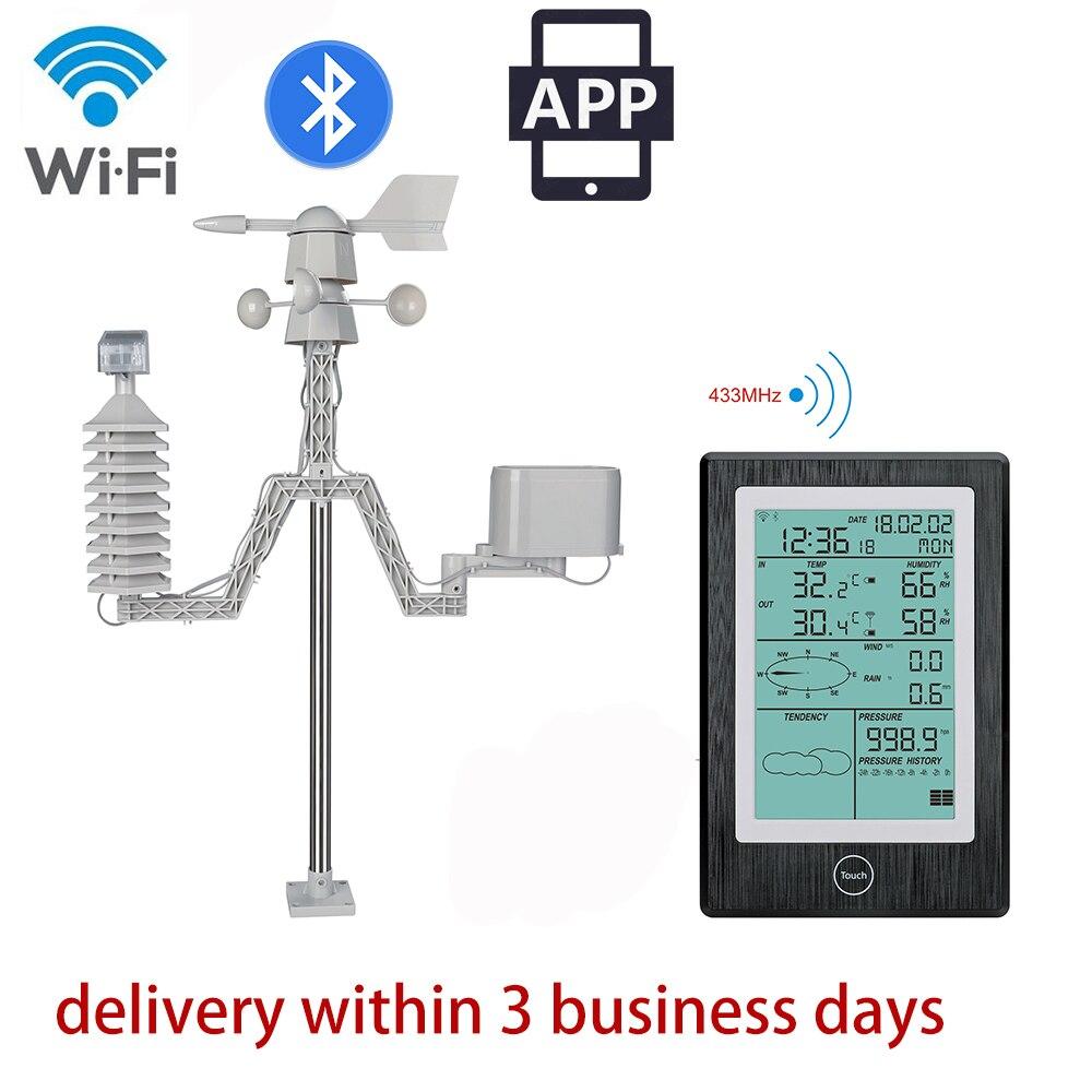 Solaire alimenté Bluetooth station météorologique professionnel WiFi Station Météo sans fil intérieur extérieur avec APP