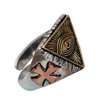 Vintage 925 Sterling Silver Men Jewelry Egypt Pharaoh God Eye Men's Ring Biker Mystic Triangle Wholesale