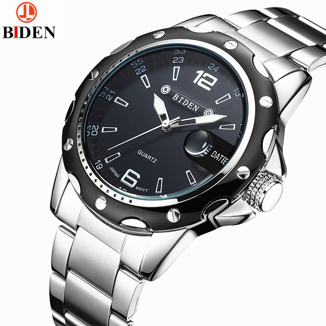Brand Biden Men Full Stainless Steel Business Watches Men's Quartz Date Clock Men Wrist Watch relogio masculino nibosi men watch full stainless steel mesh strap business watches men s quartz date clock men wrist watch relogio masculino