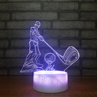Home Decoration Bedroom 7 Color Changing Table Lamp 3D LED USB Play Golf Modelling Children Holiday Creative Gifts Night Lights