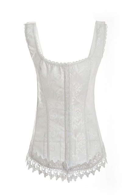 Sexy Corset White Bustier Top With Straps Push Up Underwire Bra Corselet Overbust Korsett Plus Size Women Corsets and Bustiers