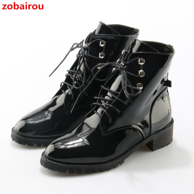 Zobairou Western Chic Bella Hadid Outfit Combat Boots Fashion Women Shoes  Patent Leather Lace Up Studded Motorcycle Booties b431a26fd3d7