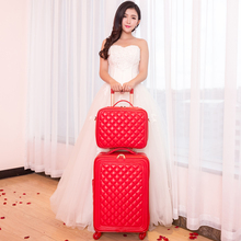Trolley luggage picture box travel bag universal wheels married the box bride suitcase red luggage 14 20 24inches red pu bags