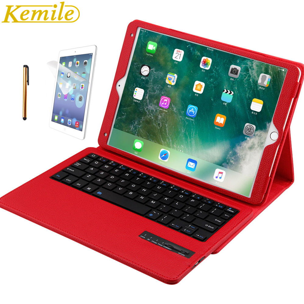 Kemile Removable Wireless Bluetooth Keyboard For iPad pro 10.5 inch PU Leather Case For iPad pro 10.5 inch 2017 Cover Stand for ipad pro 12 9 keyboard case magnetic detachable wireless bluetooth keyboard cover folio pu leather case for ipad 12 9 cover