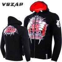 VSZAP Hoodie Zipper Boxing Tracksuits MMA T Shirt Gym TeeShirt Fighting Martial Arts Fitness Training Muay