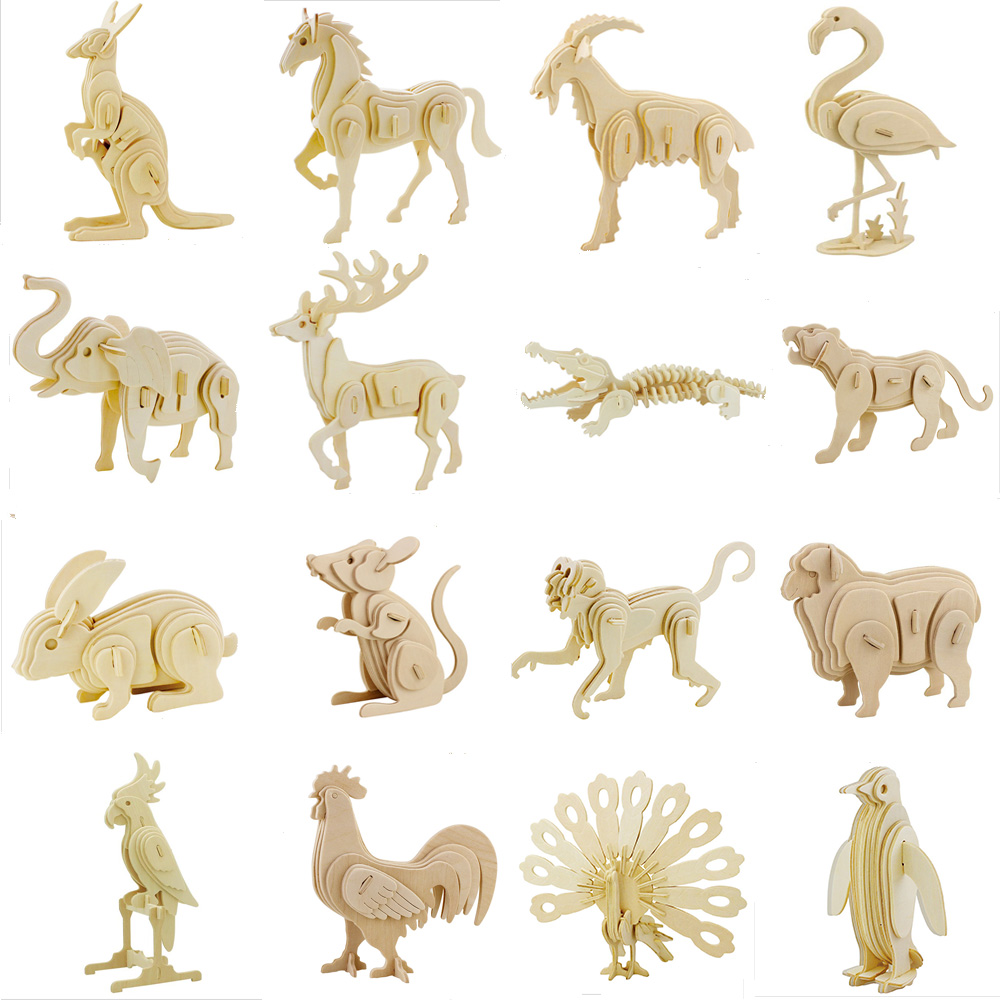 1pcs DIY 3d Puzzle Wooden Puzzle Animal Model Assemble Butterfly Elephant Lion Dinosaurs Handmade Educational Toys for Children ds381b wooden 3d army puzzle toy model anti air vehicles diy assemble toys boys free shipping usa brazil