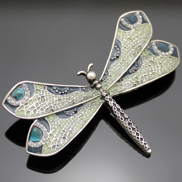 New Fashion Vintage Silver Art Nouveau Victorian Dragonfly