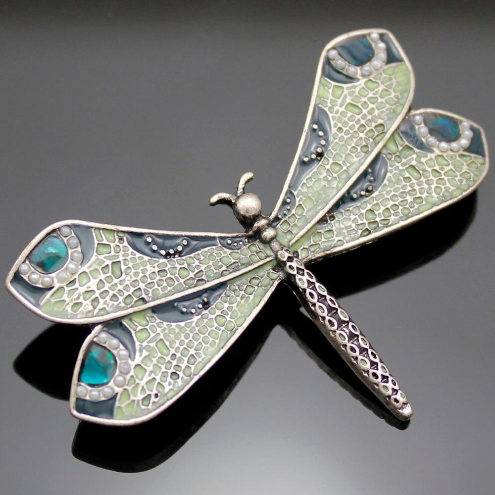 Nouvelle mode Vintage argent Art Nouveau victorien libellule perle aile rétro revers broche Badge cadeau vêtements accessoires