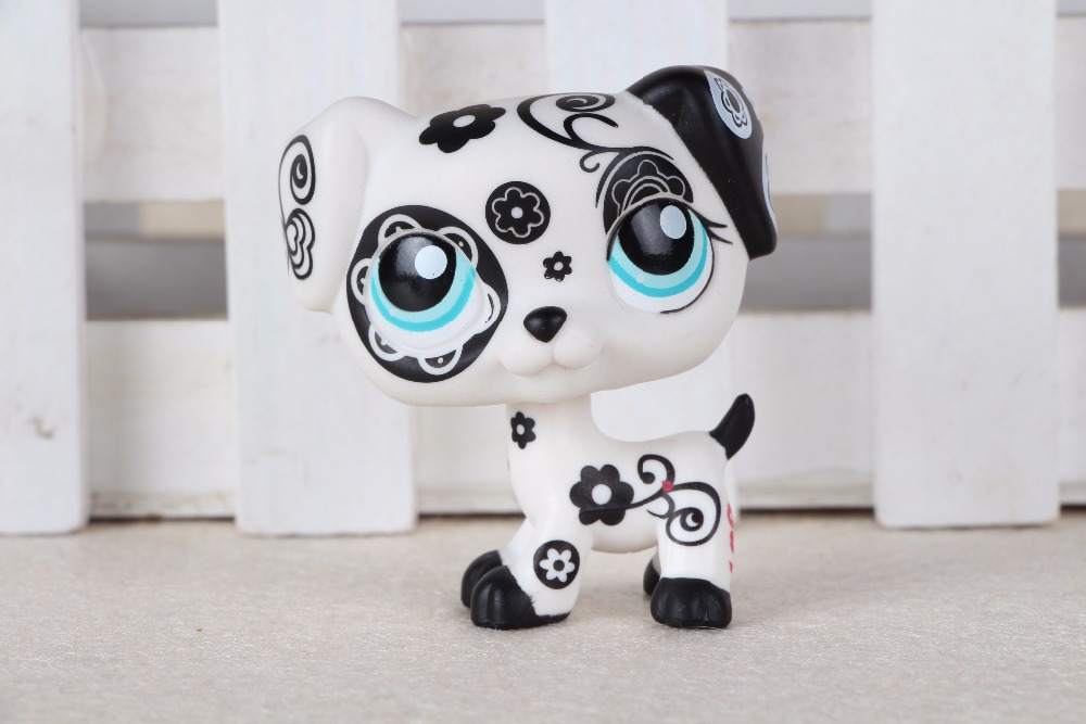 New pet Genuine Original LPS #1613 Dalmation Dog Black White Flower Patterns Kids Toys new pet genuine original lps 58 brown collie dog puppy blue eyes lps kids toys