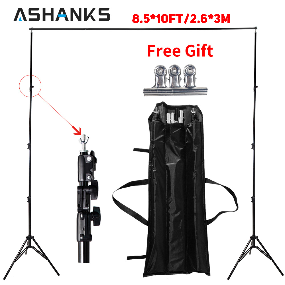 ASHANKS Photography Studio Backdrops Frame Latar belakang Sistem Sokongan 2.6M X 3M Letak Camera & Photo Accessories + Carry Bag